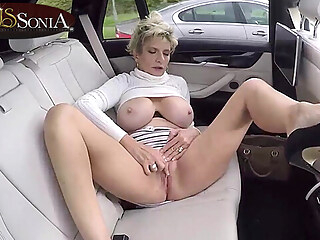 Busty Lady Sonia masturbates in the backseat of her car big tits blonde car freeones