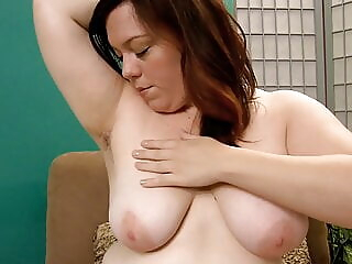 BBW Ada Plays with Her Hairy Pussy bbw fingering redhead freeones