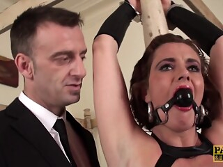 Collared MILF punished anal big tits brunette freeones